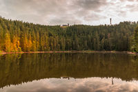 Mummelsee in the Black Forest with view of the Hornisgrinde mountain, Baden-Wuerttemberg, Germany