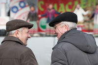 Belarus, Gomel, on May 12, 2016. Central Park. Two pensioners are talking