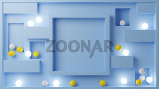3D Illustration of multiple spheres against a blue surface.