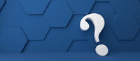 Fine 3d concept with a white question mark icon on classic blue hexagon
