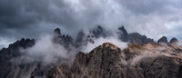 Mountain landscape with mist, at sunset. at Tre Cime di lavaredo, Italian dolomites a in South Tyrol in Italy.