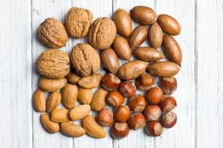 various unpeeled nuts