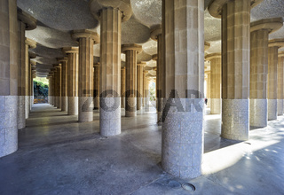 Barcelona. Catalonia. Spain. Columns and Domes of Hypostyle Room in Park Guell
