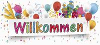 Willkommen Banner Balloons Buntings Letters Pencils
