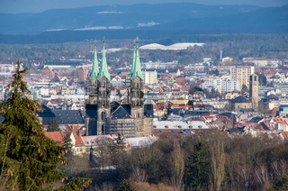Skyline of world heritage city of Bamberg with the famous Cathedral in the foreground on a sunny winter day