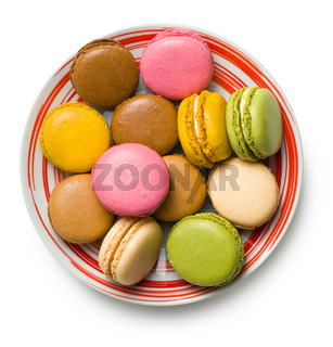 colorful macaroons on plate