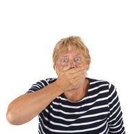 Scared elder woman isolated over white background