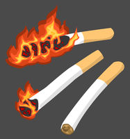 Cigarettes Burning Stages Cartoon