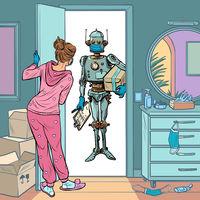 Robot courier in a medical mask, safe delivery in quarantine