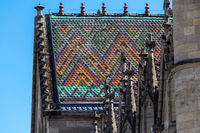 Colorful roof of the city church in Meiningen, Thuringia