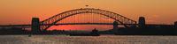 Colorful evening sky and Sydney harbour bridge.