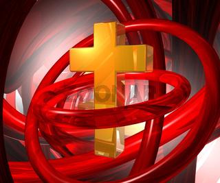 goldenes kreuz in futuristischer umgebung - 3d illustration