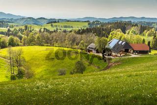 Traditioneller Schwarzwaldhof in hügeliger Landschaft im Schwarzwald