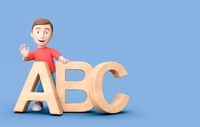 Young Kid 3D Cartoon Character Leaning on ABC Letters on Blue with Copy Space