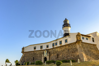 Famous historic fort and Barra lighthouse facade