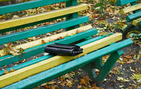 Purse on a bench in the park