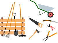 Gardening tools set on white background - vector illustration