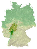 Hesse - topographical relief map Germany
