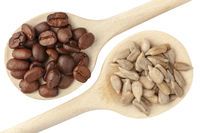 Coffee beans and sunflower seeds