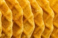 Top view closeup of crispy waffles.