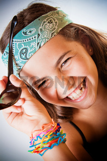 Young girl laughing her head off