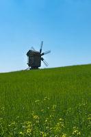 Old windmill on horizon.