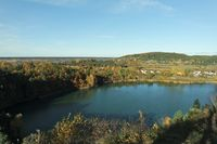 View of turquoise lake. Wolin Island