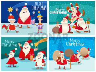 greeting cards set with Christmas characters