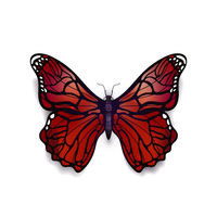 Beautiful bloody red detailed realistic magic butterfly on white