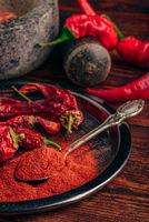 Spoonful of ground chili pepper