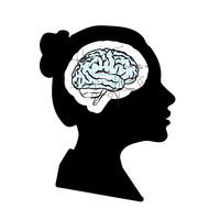 Black detailed woman face profile with math technical brain on white