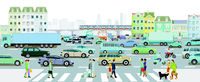 Cars at the intersection in the traffic jam in a big city and metro in front of buildings, illustrat