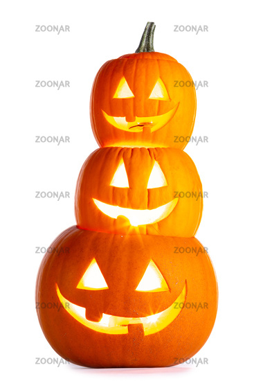 Stack of glowing Halloween Pumpkins