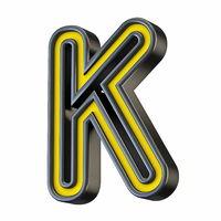 Yellow black outlined font Letter K 3D