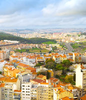 Aerial view colorful Lisbon Portugal