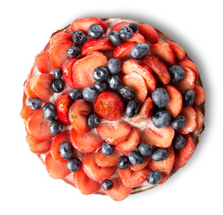 Strawberry and blueberry cake
