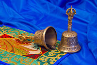 two Tibetan ritual bells on a blue background