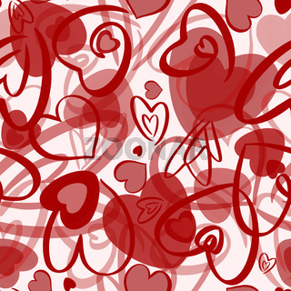 Red valentines seamless pattern with hearts on white background