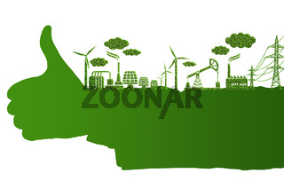 Green environment concept with thumbs up hand