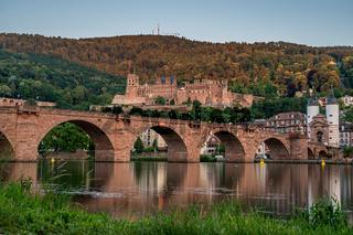 Heidelberg castle ruins, karl theodor bridge (old bridge) and neckar river, germany