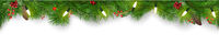 Christmas Banner or Border with Fir Branches and Pine Cones