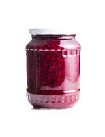 Red sauerkraut. Sour pickled cabbage