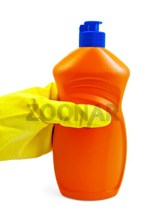A bottle of orange in yellow-gloved hand in the