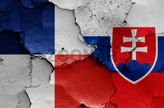 flags of Banska Bystrica Region and Slovakia painted on cracked wall