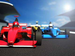 Race cars racing on the track. 3D illustration