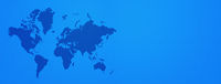 World map on blue wall background. Horizontal banner
