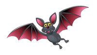 Bat in flight cartoon cute character