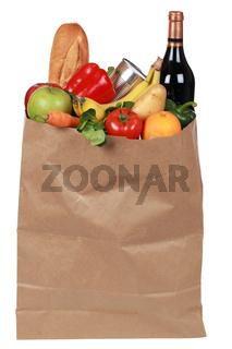 Einkaufstüte mit Obst, Gemüse und Wein