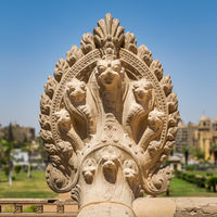 Hindu statue of snakes, Terrace of the historical palace of Baron Empain, Cairo, Egypt