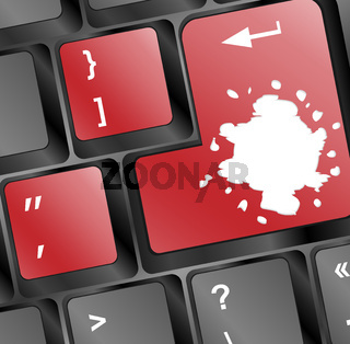Computer keyboard with red colored enter key and blots